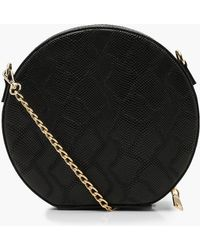 Boohoo - Faux Snake Structured Round Bag - Lyst