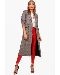Boohoo - Emily Check Wool Look Coat - Lyst