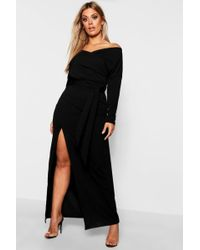 4fc4fb02dddf Boohoo Plus Off The Shoulder Bodycon Maxi Dress in Black - Lyst