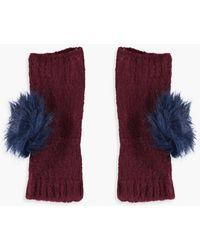 Boohoo - Harriet Fur Pom Handwarmer Gloves - Lyst
