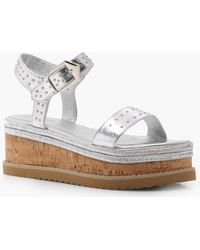 Boohoo - Silver Studded Flatforms - Lyst