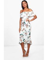Boohoo - Floral Bardot Frill Hem Midi Dress - Lyst