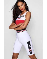 f695b0ece2f2 Boohoo - Woman Double Layer Sports Trim Cycling Shorts - Lyst