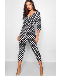 fbbb356cadcd Boohoo Tall Floral Print Jumpsuit in Black - Lyst