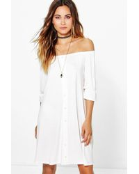Boohoo - Off The Shoulder Button Shift Dress - Lyst