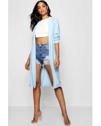 Boohoo - Belted Duster Jacket - Lyst