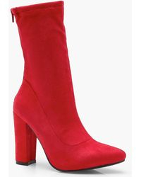 Boohoo - Suedette Sock Boots - Lyst