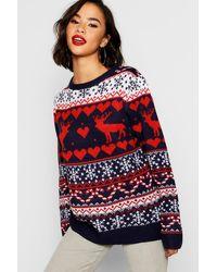 Fair Isle Christmas Sweater.Fairisle Festive Christmas Sweater Red