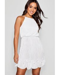 Boohoo - Florence Pleated Detail Skater Dress - Lyst