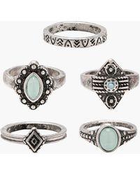 Boohoo - Engraved Stone Detail Rings 5 Pack - Lyst