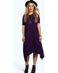 553b183f53c1f Lyst - Boohoo Indir Half Sleeve Hanky Hem Swing Dress