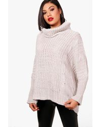Boohoo - Chunky Roll Neck Cable Knit Jumper - Lyst