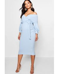 5bedf886bee13 Boohoo Maternity Ruffle Off The Shoulder Midi Dress in Blue - Lyst