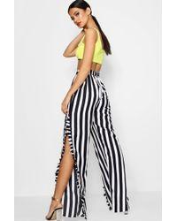 Boohoo - Stripe Ruffle Leg Trouser - Lyst