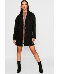 Boohoo - Oversized Boyfriend Wool Look Coat - Lyst