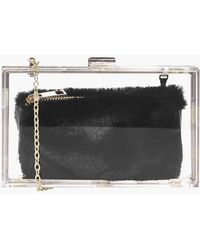 5d596b856a2d Boohoo - Anya Clear Faux Fur Purse Clutch Bag - Lyst