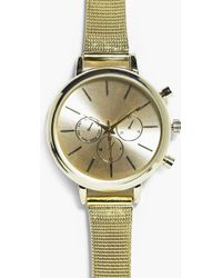 Boohoo - Mia 3 Dial Stainless Steel Strap Watch - Lyst