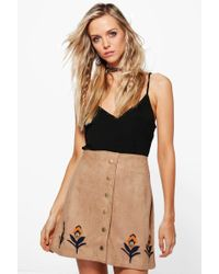 Boohoo Alexi Embroidered Hem Button Front Suede Skirt in Blue   Lyst