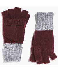Boohoo - Annabel Ribbed Contrast Knit Gloves - Lyst