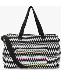 Boohoo - Ava Mono Zig Zag Embroidered Panel Day Bag - Lyst