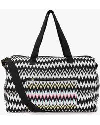 Boohoo | Ava Mono Zig Zag Embroidered Panel Day Bag | Lyst