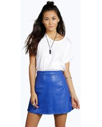 992a03d9e Boohoo Suri Lace Up Side Faux Suede Skirt in Black - Lyst