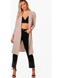 Boohoo Womens Woven Pocket Duster - Beige - 4 - Natural