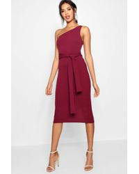 Boohoo - One Shoulder Belted Midi Dress - Lyst