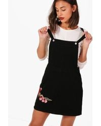 Boohoo - Rose Embroidered Denim Pinafore Dress - Lyst 33ca58ebb