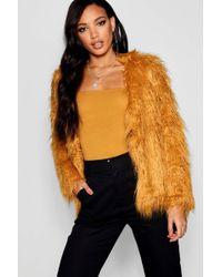 Boohoo - Mongolian Faux Fur Coat - Lyst