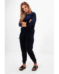 Boohoo - Plus Bethany Velvet Top And Sweat Pants - Lyst