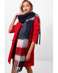 Boohoo - Brushed Chunky Check Scarf - Lyst