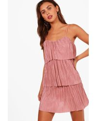 Boohoo | Petite Fiona Tiered Pleated Dress | Lyst
