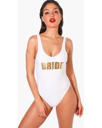 Boohoo - Benidorm Bride Slogan Scoop Swimsuit - Lyst