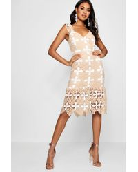 Boohoo - Boutique Tabby Crochet Frill Hem Midi Dress - Lyst