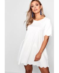 83a57e698327 Boohoo Plus Pleated Off The Shoulder Skater Dress in Black - Lyst