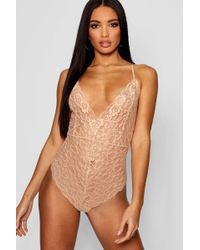 Boohoo - Strappy Scallop Edge Lace Bodysuit - Lyst