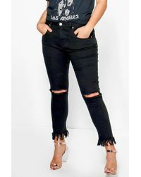 Boohoo | Plus Nancy Rip Knee Fray Hem Skinny Jean | Lyst