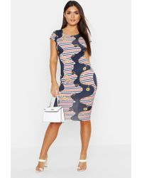 4dc2f6bc4bd Boohoo - Nautical Chain Print Bodycon Cap Sleeve Midi Dress - Lyst