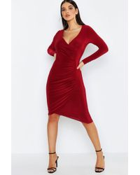 dcb591eee11 Lyst - Boohoo Strappy Ruched Side Midi Dress in Red