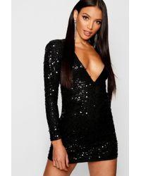 33eb06ccc53c Boohoo Boutique Sequin Print Mesh Bodycon Dress in Metallic - Lyst