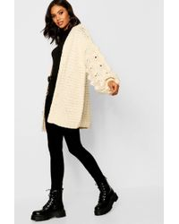 Boohoo - Premium Hand Knitted Chunky Cable Cardigan - Lyst