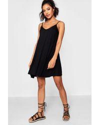 db57b47fe1c Lyst - Boohoo Sara Basic Seam Detail Skater Dress in Black