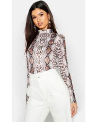 c530029e46f Lyst - Boohoo Snake Print Mesh Turtle Neck Long Sleeve Top in Natural