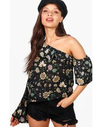 Boohoo - One Shoulder Floral Flare Sleeve Top - Lyst
