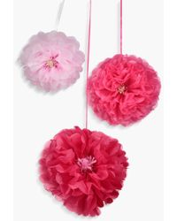 Boohoo - 3 Pack Pink And Blush Flower Pom Poms - Lyst