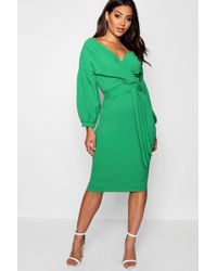 Boohoo - Off The Shoulder Wrap Midi Dress - Lyst