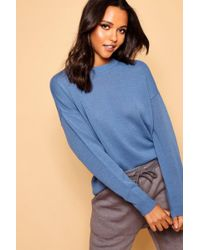 Boohoo - Boxy Crew Neck Sweater - Lyst