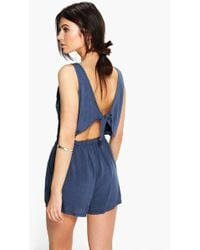 Boohoo - Helen Tie Back Relaxed Fit Playsuit - Lyst