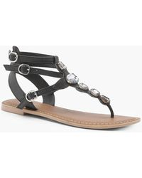 Boohoo - Anna Jewelled Ankle Strap Leather Sandals - Lyst